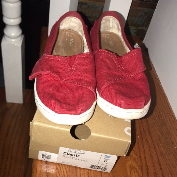 Toms Other - Kids Gently used Red Classic Toms size 11